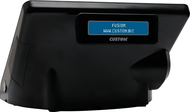 Side of the POS PC Fusion Custom with customer display