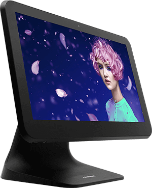 Left side view of the POS PC Custom Silk Android 8.1
